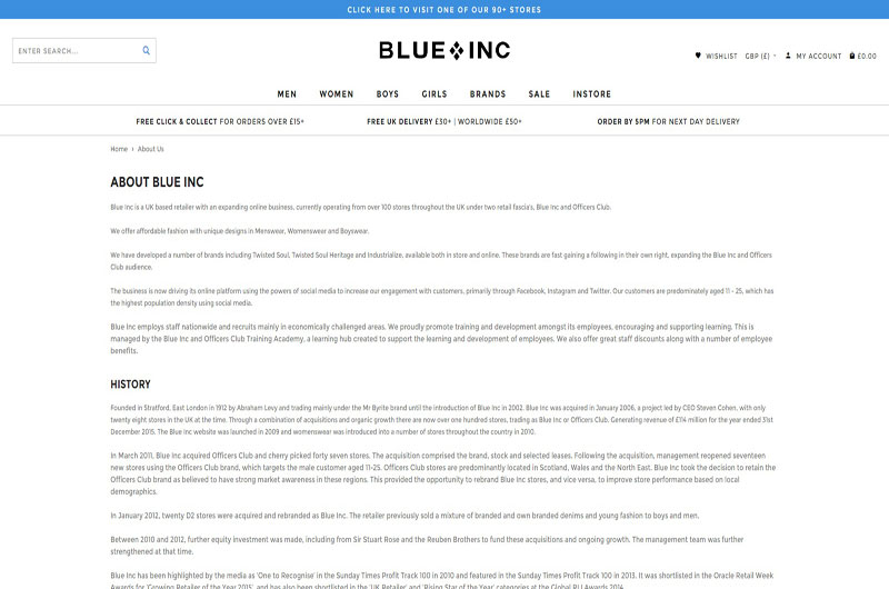 Blue Inc clothing shops